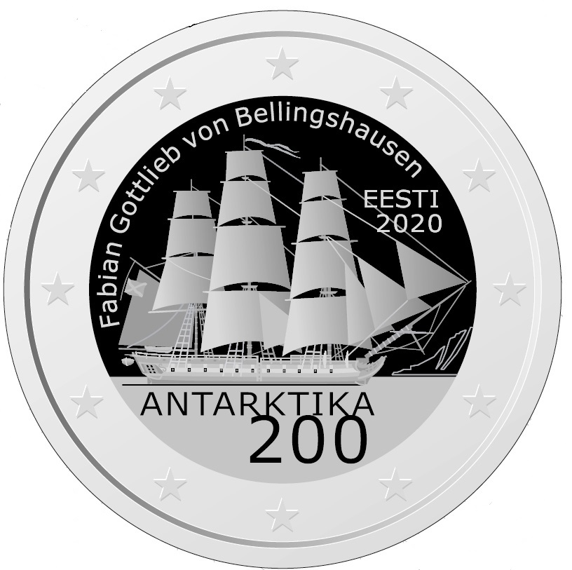 Antarktika avastamise 200. aastapäevale pühendatud pühendatud 2eurose mälestusmünt