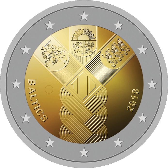 Balti riikide 100. aastapäevale pühendatud erikujundusega 2eurone