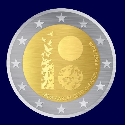 Eesti Vabariigi juubelile pühendatud erikujundusega 2eurone