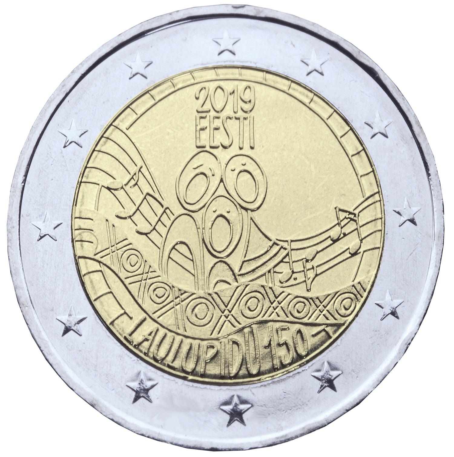 Laulupeo 150. aastapäevale pühendatud 2eurone käibemünt
