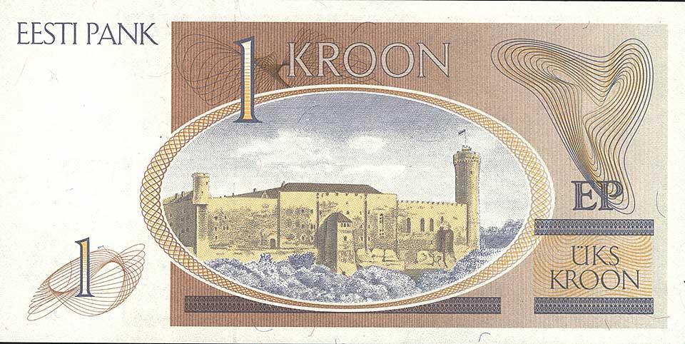 Eesti Vabariigi pangatäht 1 kroon 1992 tagakülg