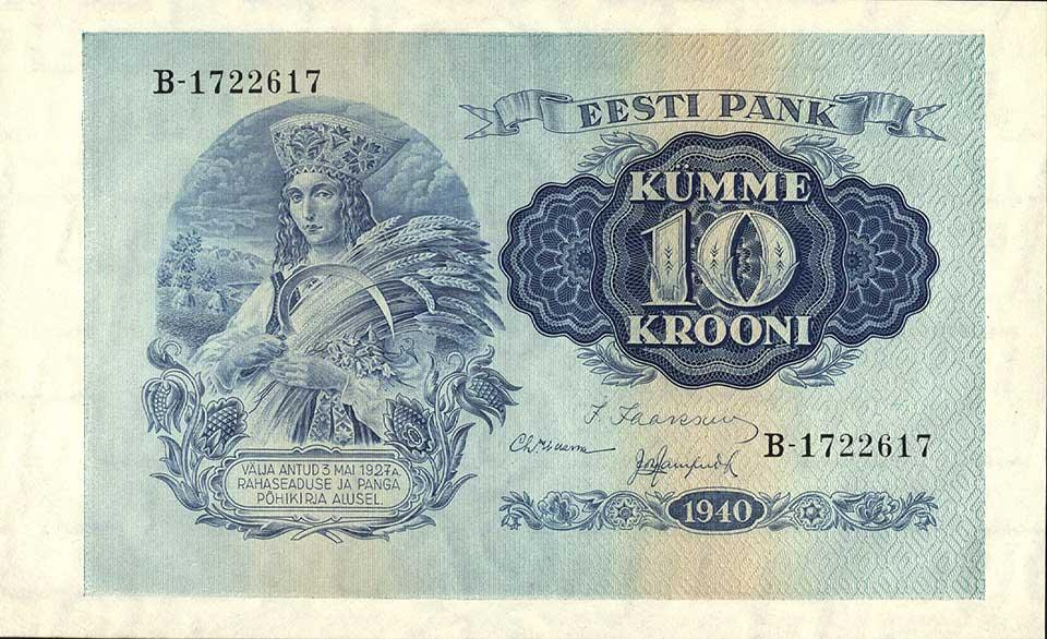 Eesti Vabariigi pangatäht 10 krooni 1940