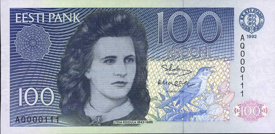 Eesti Vabariigi pangatäht 100 krooni 1992