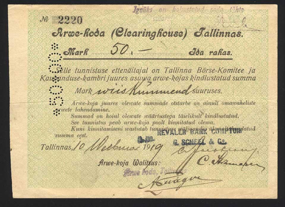 Tallinna arvekoha maksutäht 50 marka. 19191