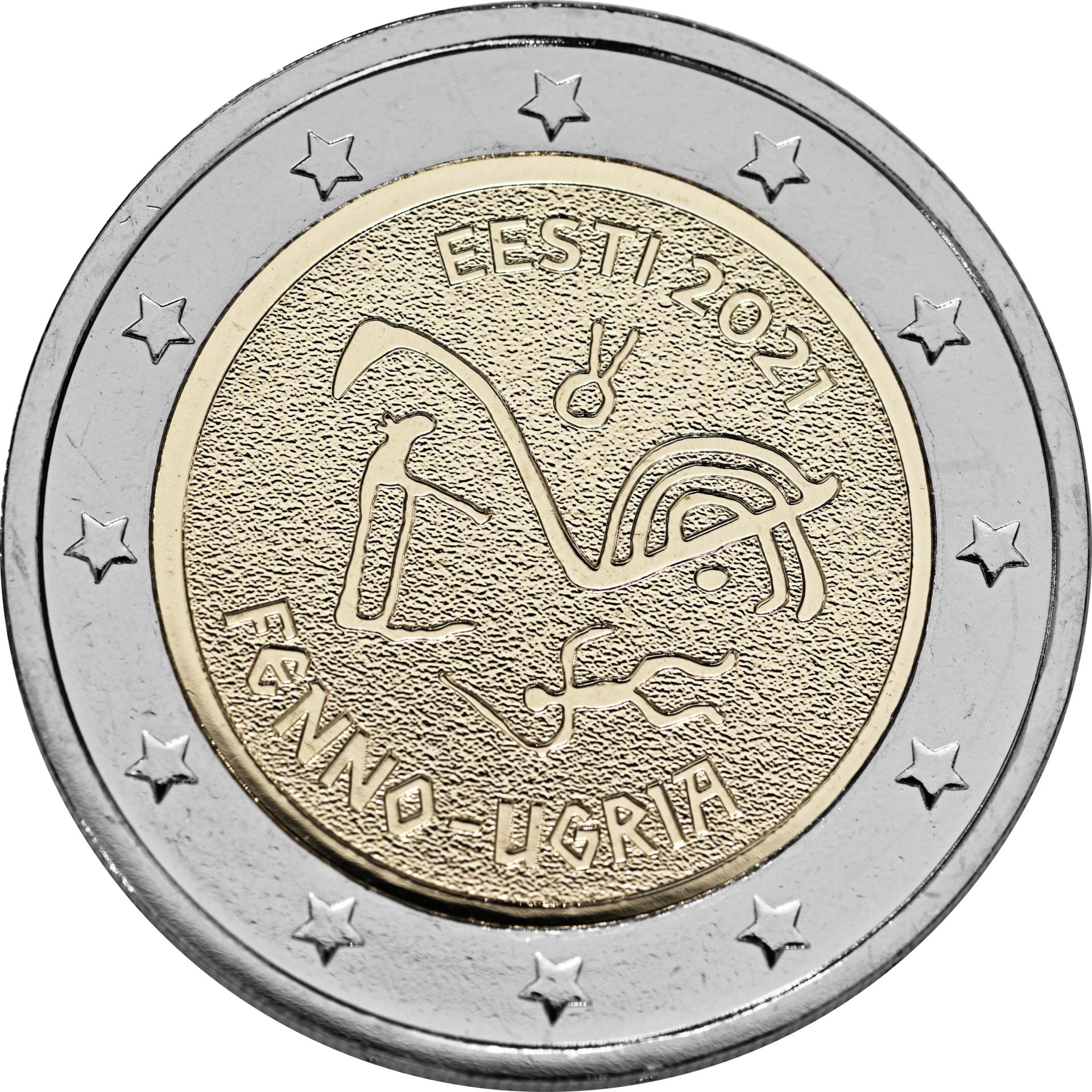 soome-ugri erikujundusega 2eurone käibemünt