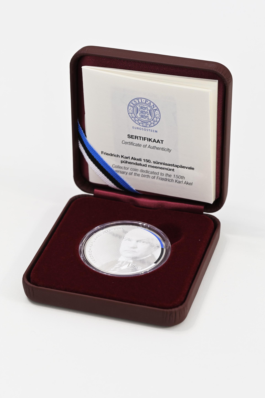 Friedrich Karl Akeli 150. sünniaastapäeva auks välja hõbemünt