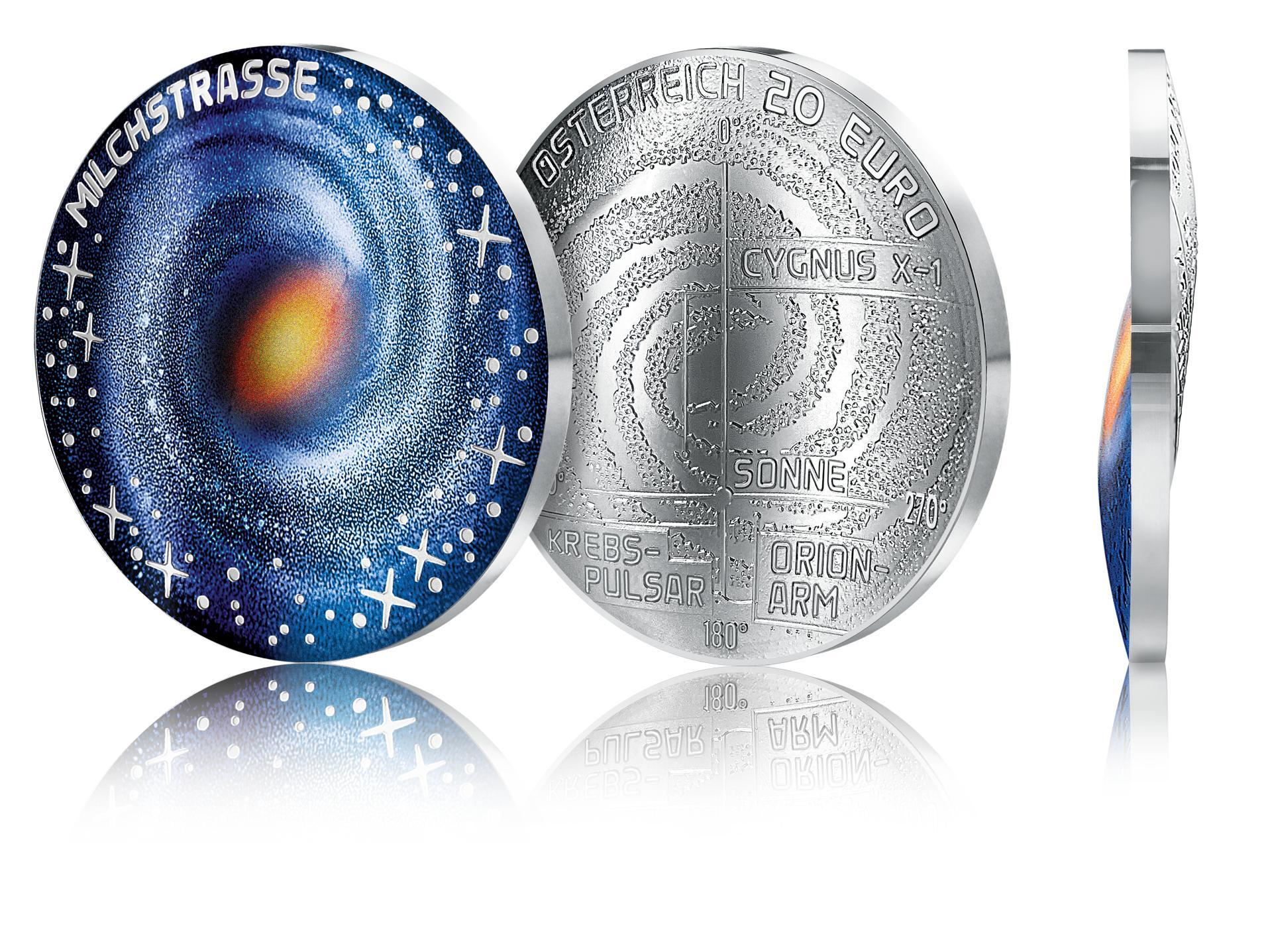 """20eurone hõbemünt """"Milchstrasse"""" on pühendatud Linnutee galaktikale ja münt ise on S-tähe sarnane, meenutades meie kodugalaktika kuju (2021) Foto: Münze Österreich / Michael Stelzhammer"""