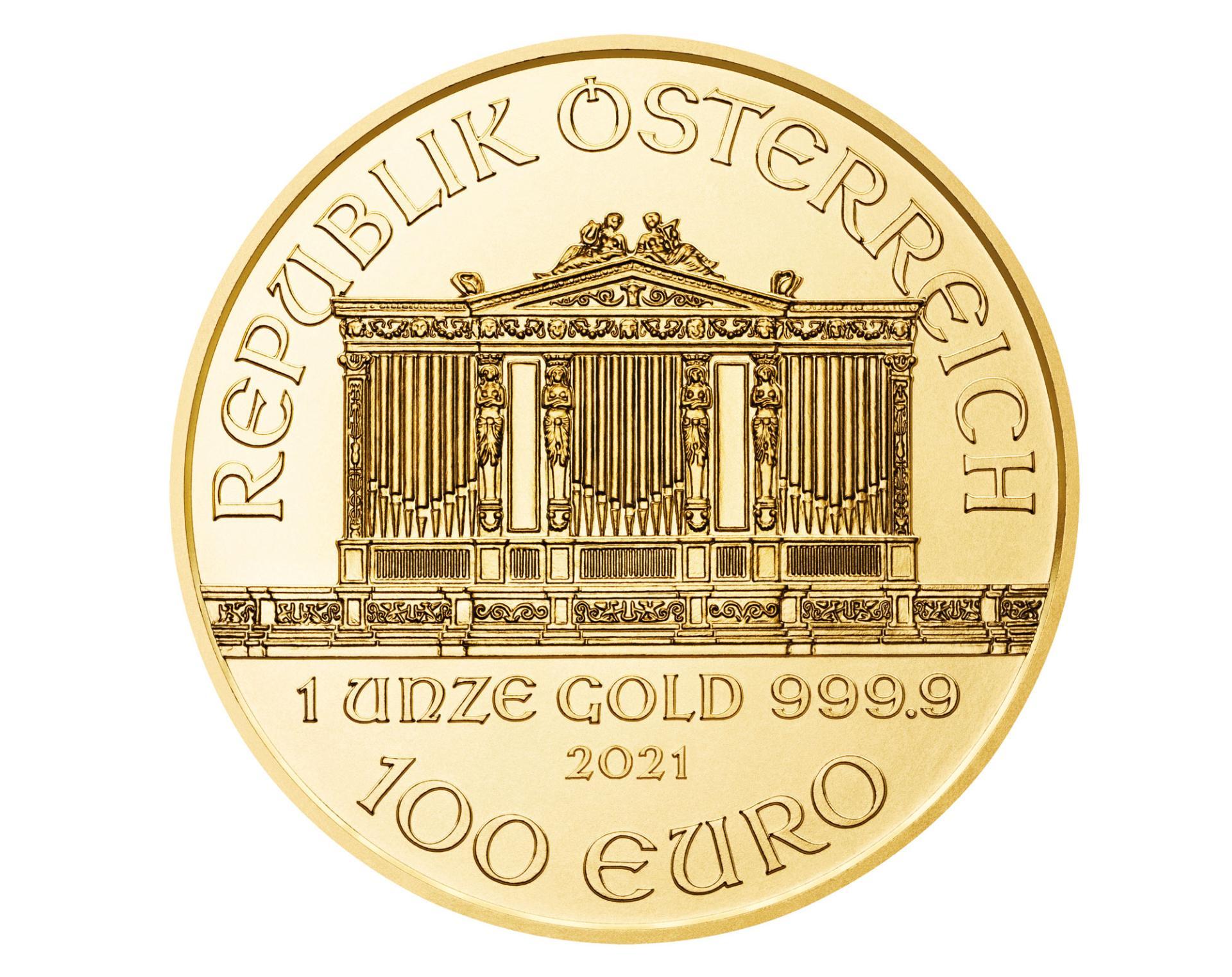100eurose nimiväärtusega üheuntsine puhtast kullast münt, millel on kujutatud Viini Filharmoonia kuldse saali orelit