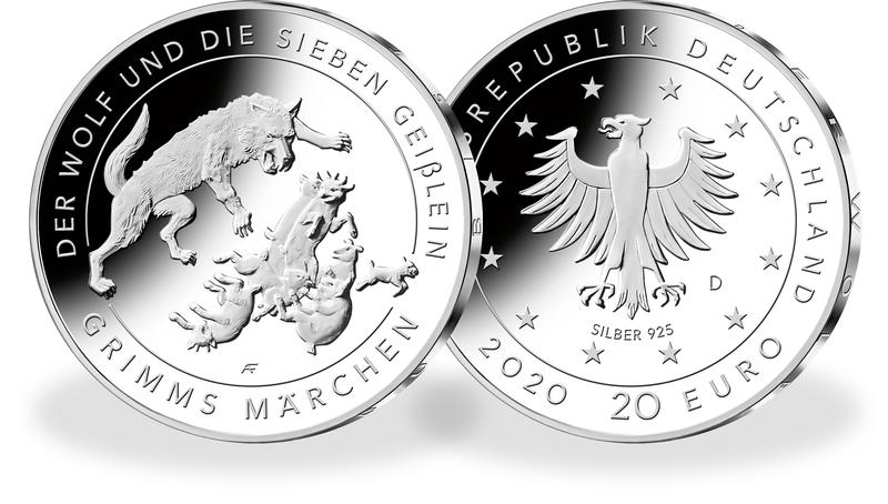 20eurone hõbemünt, millel on kujutatud vendade Grimmide muinasjututegelasi hunti ja seitset kitsetalle (Saksamaa, 2020)